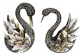 Лебеди металлические пара 26 см и 21 см