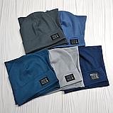 """М 4565. Комплект трикотажний шапка + хомут для хлопчиків """"ОЕ"""" 3-8 років, різні кольори, фото 6"""