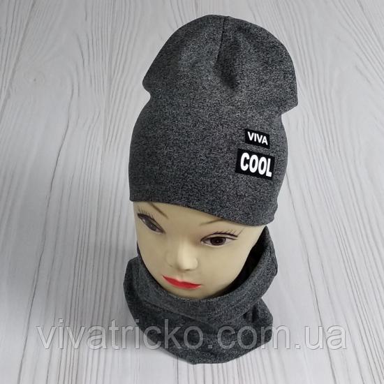 """М 4547. Комплект  весна-осень шапка двойная + хомут для мальчиков """"viva cool"""" 3-8 лет, разные цвета"""