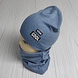 """М 4547. Комплект  весна-осень шапка двойная + хомут для мальчиков """"viva cool"""" 3-8 лет, разные цвета, фото 2"""