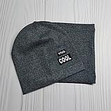 """М 4547. Комплект  весна-осень шапка двойная + хомут для мальчиков """"viva cool"""" 3-8 лет, разные цвета, фото 4"""