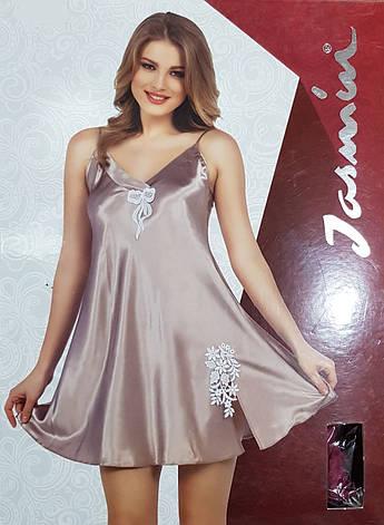 Атласна нічна сорочка на тонких бретелях Jasmin, фото 2