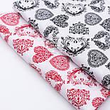 Отрез ткани диагональными узорчатыми сердечками чёрного цвета на белом фоне, размер 130*160 см, фото 4
