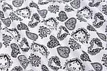 Отрез ткани диагональными узорчатыми сердечками чёрного цвета на белом фоне, размер 130*160 см, фото 6