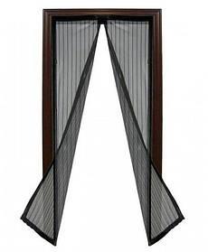 Москитная сетка на магнитах Magic Mesh (Меджик Меш), антимоскитная шторка распашная, черный