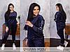 Оригінальний велюровий спортивний костюм жіночий темно-синій з нашивкою (4 кольори) МЕ/-31327