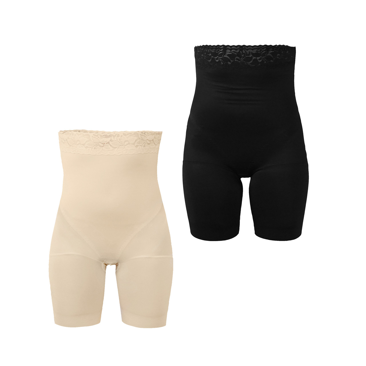 Набор белья для коррекции фигуры, шорты корректирующие с высокой посадкой, 2 шт Черный и Бежевый, размер S