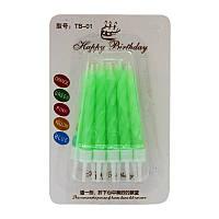 Свічка для торту неонова Зелена з підсвічником 6,5 см (10 шт)
