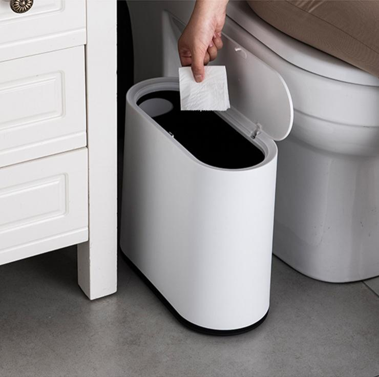 Компактный мусорный контейнер, узкое мусорное ведро с крышкой, автоматическое открытие 10 л