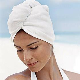 Рушник - тюрбан для сушки волосся з мікрофібри, шапка після душу, Білий