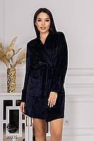 Короткий велюровый халат темно-синий. Модель 30335. Размеры 42-52, фото 1