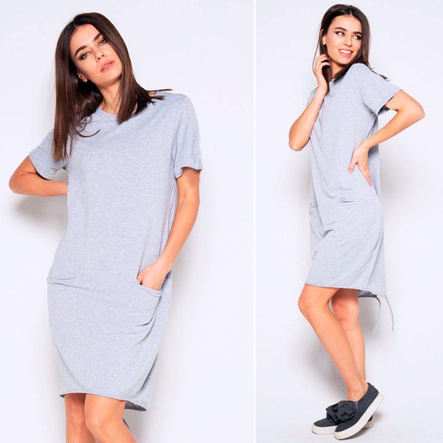 Серое спортивное платье (Код MF-436)
