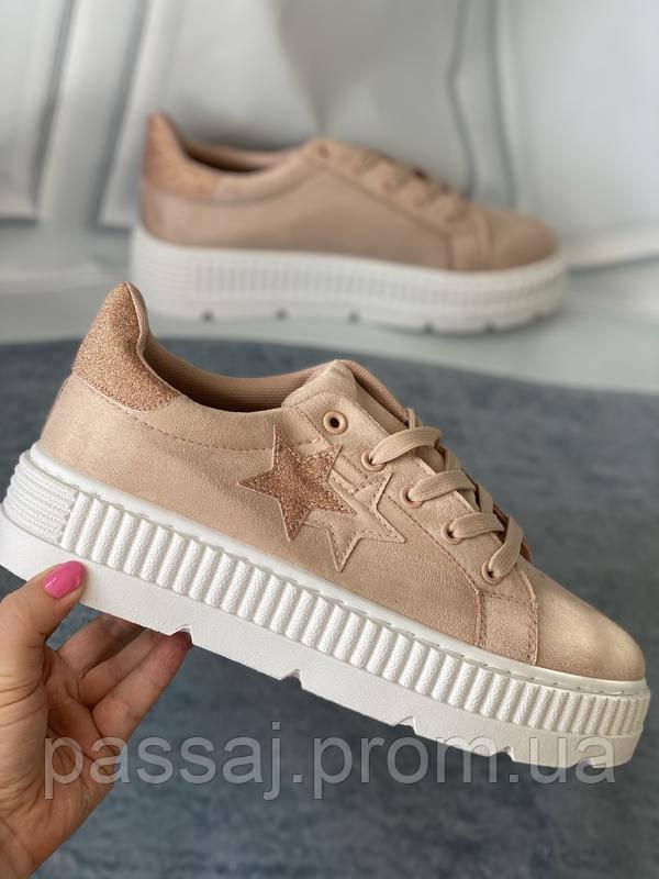 Кроссовки, криперы Спортивные туфли розовые на платформе