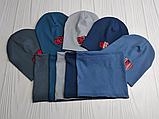"""М 4542. Комплект  весна-осень шапка двойная + хомут для мальчиков """"one way"""" 3-8 лет, разные цвета, фото 5"""