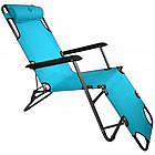 Садовое кресло шезлонг с подголовником Bonro 153 см лежак раскладной, фото 6