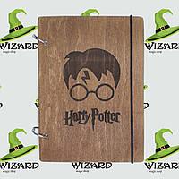Деревянный скетчбук В6 Гарри Поттер (мореное дерево)