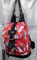 Рюкзак жіночий тканинний модний молодіжний червоний з принтом 33*28 см Dolly 302, фото 2