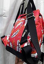 Рюкзак жіночий тканинний модний молодіжний червоний з принтом 33*28 см Dolly 302, фото 3
