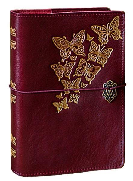"""Ежедневник (портфолио) А5 формата в кожаной обложке на резинке """"Стая бабочек"""""""