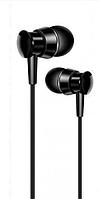 Наушники XO S25 проводные черного цвета стерео звук для телефона шумоподавляемые с микрофоном вакуумные.