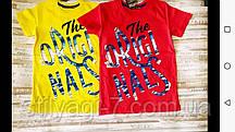 Футболка для хлопчика на 5-8 років білого, чорного, червоного, синього, жовтого кольору з написом оптом