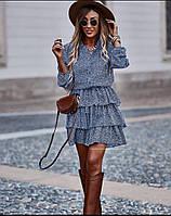 Женское легкое платье в горох ткань супер софт длинный рукав размер: 42-44,46-48,50-52,54-56