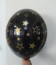 """Латексный шар черный с рисунком звезда золотой 12 """"30см Belbal"""