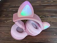 Беспроводные наушники с кошачьими ушками с подсветкой для девочки на подарок