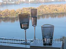 Набір 6 келихів для шампанського з кольорового чорного скла Чорний Ангел 150 мл, фото 3