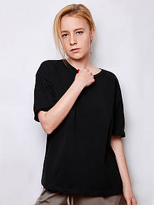 Футболка женская базовая Oversize черная  SOLH MKSH2433