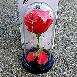 Вечная роза в колбе 20 см с LED подсветкой красная