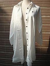 Пляжная рубашка белая коттон Туника короткая с темными пуговицами с воротником и карманами 146-62, фото 3