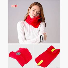 Подушка - шарф для путешествий Travel Pillow, компактная легкая дорожная подушка, Красный