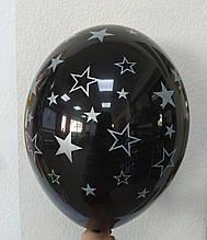 """Латексный шар черный с рисунком звезда серебряный 12 """"30см Belbal"""