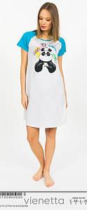 Платье-туника для дома с коротким рукавом Панда 42-48 р