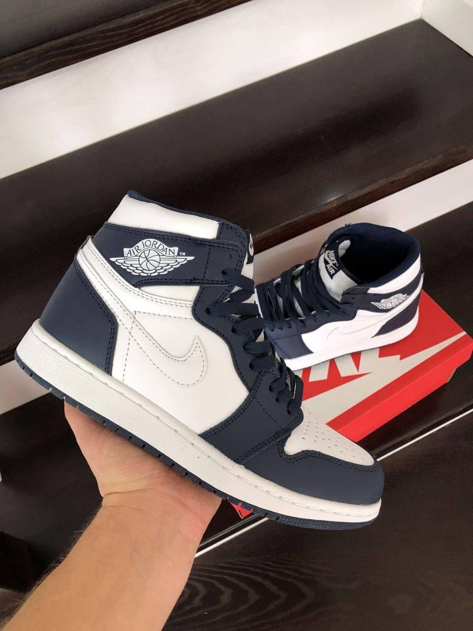 Кросівки  Air Jordan 1 High   темно сині з білим  весна/осінь  41 | 42 | 43 | 44 | 45 | 46