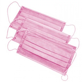 Маска медична тришарова на резинках «Славна®» Рожева нестерильна 1шт