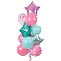 Связка воздушных шаров с сатиновыми звездами и шарами агат