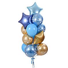 Связка на День Рождения с сатиновыми звездами и шариками хром