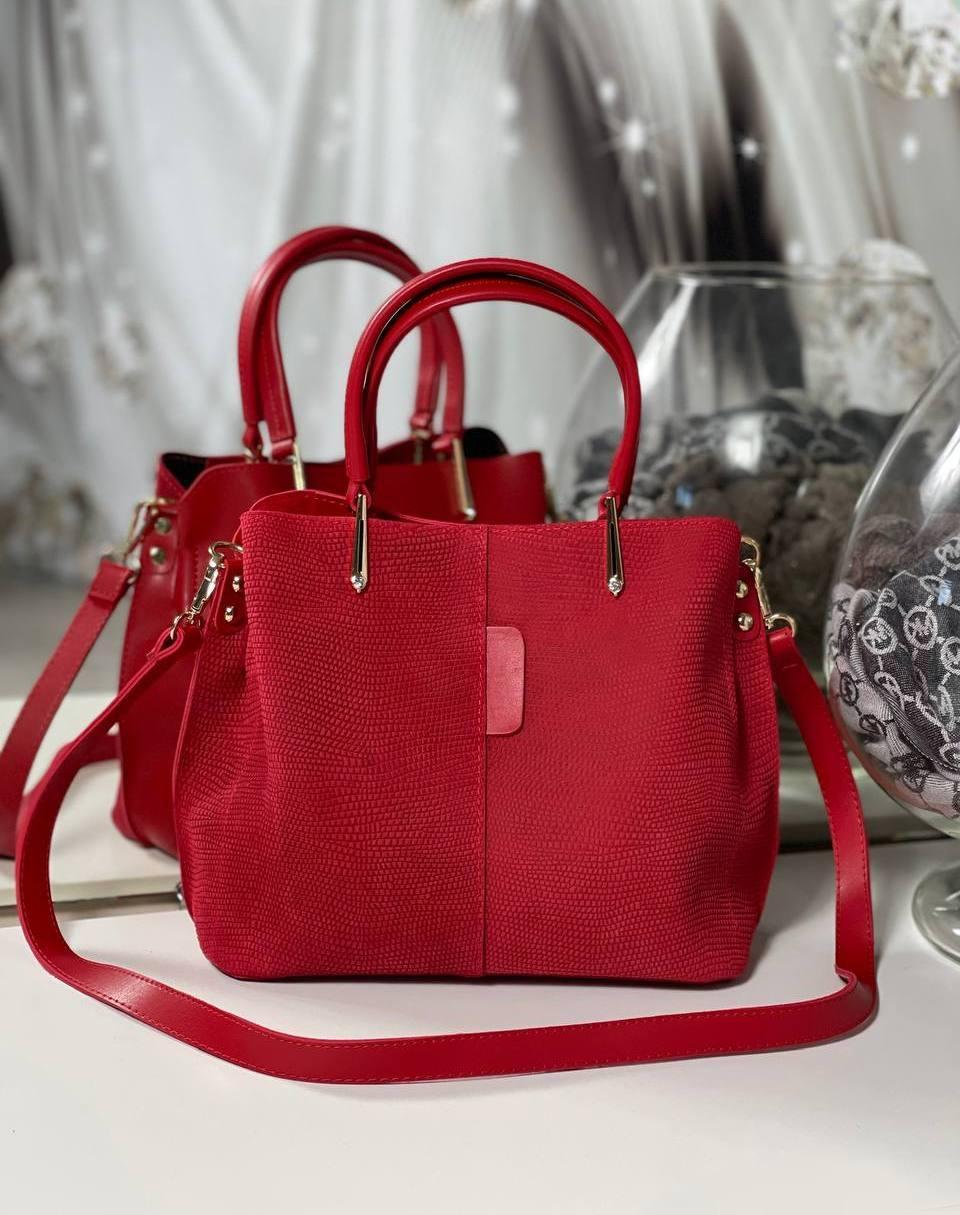 Замшевая красная женская сумка небольшая сумочка классическая стильная замша+экокожа