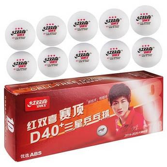 Шарики для настольного тенниса  DHS 3*, белый, 10шт,  D-3