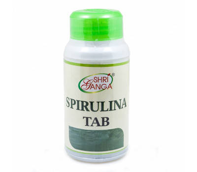 Спирулина таб (Spriulina tab), 60 таб, Shri Ganga, Шри Ганга, оригинал, сроки до 04-2021, фото 2