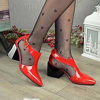 Туфли женские из натуральной лаковой кожи. Цвет красный