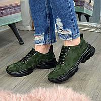 Кроссовки женские кожаные на шнуровке, цвет зеленый защитный