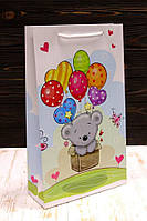 """Бумажный большой детский подарочный пакет """"Мишка с шариками """" 40*24*9см 12шт/уп"""