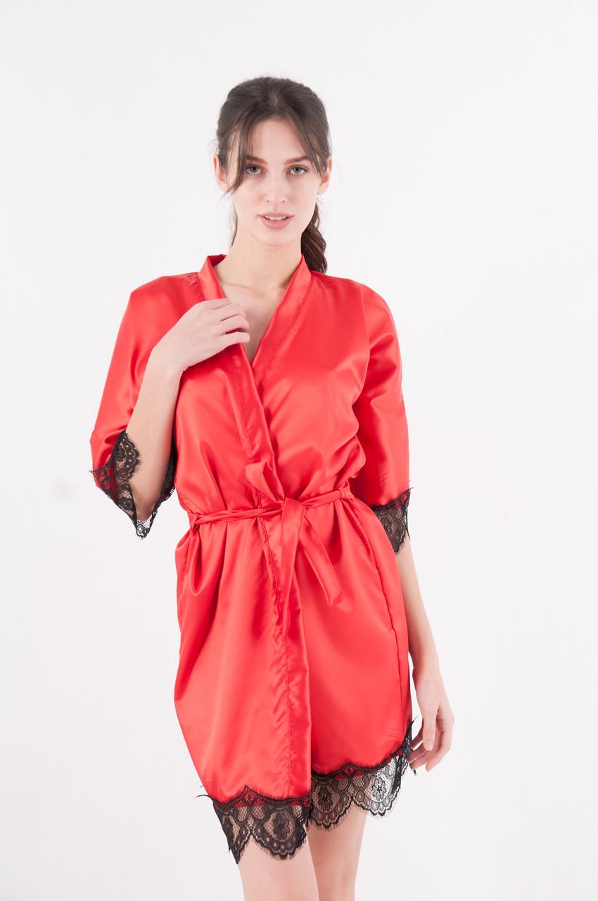 Халат женский атласный кружевной на запах красный
