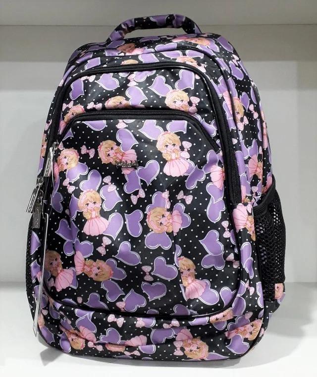 Рюкзак школьный для девочки в 2-4 класс ортопедический Принцессы Dolly 541 черный