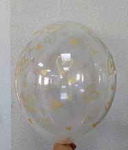"""Латексный шар с рисунком Сердце золотой прозрачный кристалл 12 """"30см Belbal ТМ"""" Star """""""