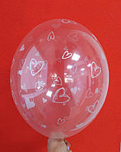 """Латексный шар с рисунком Сердце серебряный прозрачный кристалл 12 """"30см Belbal ТМ"""" Star """""""