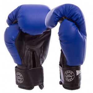 Перчатки бокс 14 оz кожвинил Элит, синие BOXER